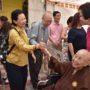 80th_Anniversary -Guests saying good-bye to our beaming Ven Bao Shi after the Anniversary lunch