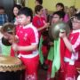 80th_Anniversary -Students from the Maha Bodhi School beating the drum and cymbals during the Lion Dance performance
